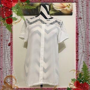 Allegra K Crochet Instead White Blouse